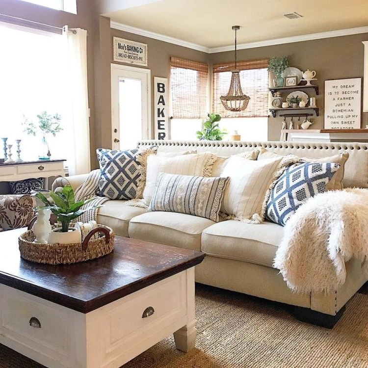 64 Gorgeous Farmhouse Living Room Decor Ideas And Designs