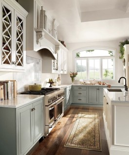 Grey And White French Country Kitchen