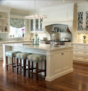 Luxury Cream Kitchen Cabinets With Granite Countertops