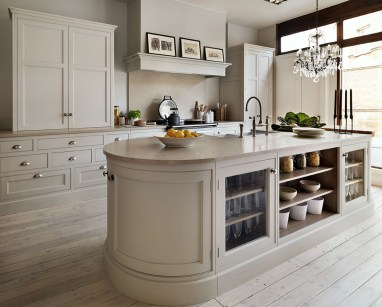 Luxury Cream Kitchen Cabinets With Grey Granite Countertops