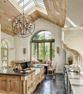 Natural Wood French Country Kitchen And Dining Room