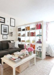 Cute Apartment Living Room Decorating Ideas Bookshelf