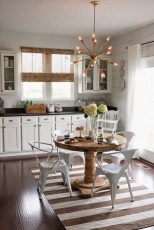 Dark Wooden Floor with White Chairs and Round Kitchen Tables for Small Kitchen Ideas
