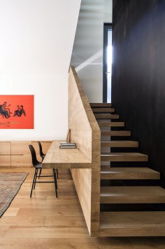 Home Office Room Design Ideas Beside the Basement Stairs