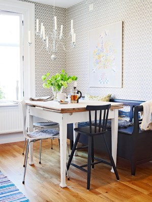 Small Kitchen Table Chandelier Wallpaper and Wood Floor