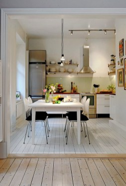 White Wooden Floor with Black Chairs and Contemporary Kitchen Tables for Small Kitchen Ideas