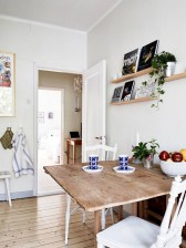 Wooden Floor with White Chairs and Farmhouse Kitchen Tables for Small Kitchen Ideas