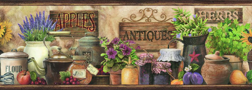 wall paper borders for kitchens washable kitchen rugs the designs of wallpaper decor on line chesapeake pur44582b brittany brown herbs antiques portrait border