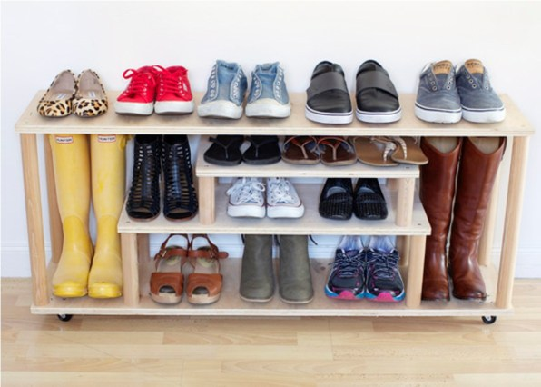 DIY Shoe Rack from Tables