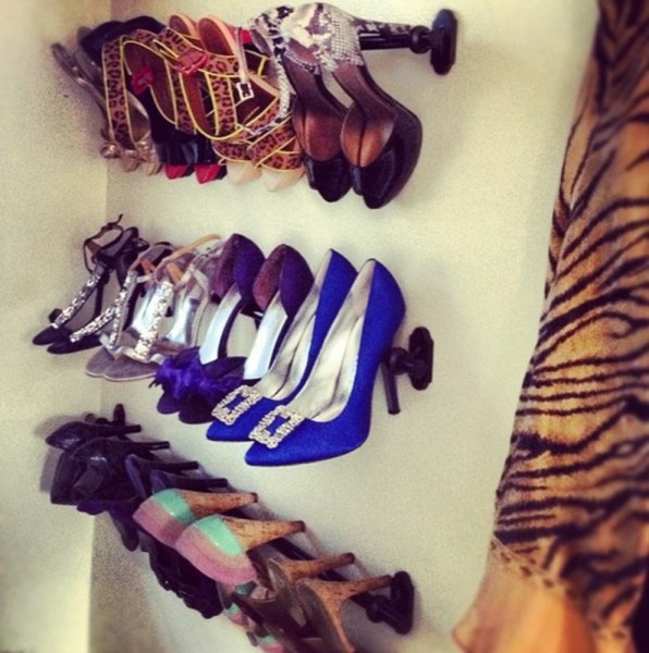 Shoe Rack from Curtain Handle