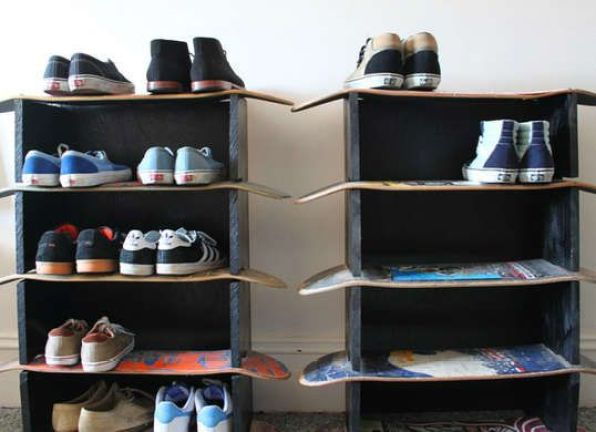Shoe Rack from Skateboards