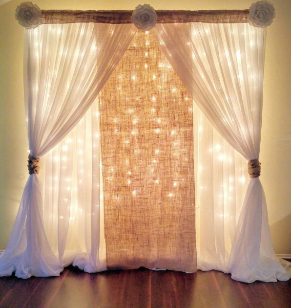 Curtain with Fairy Lamps and Burlap