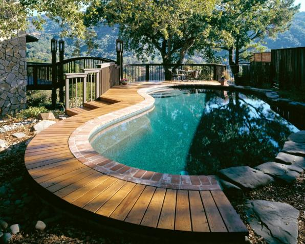 A Pool with Terraced Deck