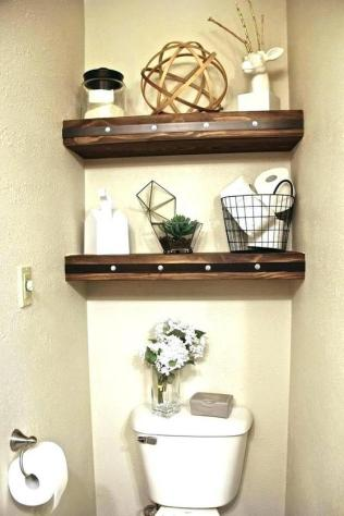 41 + Types Of Guest Bathroom Ideas Half Baths Floating Shelves 58