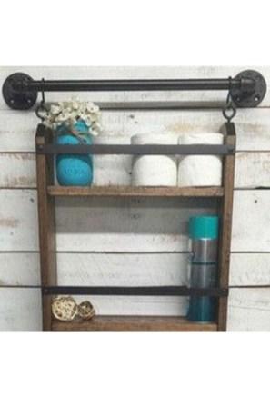 Amazing Bathroom Shelf Ideas With Industrial Farmhouse Towel Bar Tips For Buying It 26