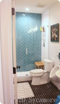 Chic Blue Shower Tile Design Ideas For Your Bathroom 23