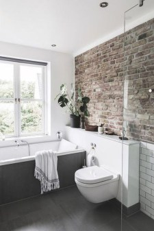 Modern Bathroom Design Ideas With Exposed Brick Tiles 19