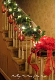 Charming Winter Staircase Design Ideas With Banister Ornaments To Try Asap 01