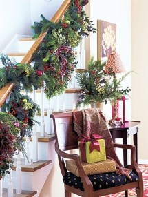 Charming Winter Staircase Design Ideas With Banister Ornaments To Try Asap 19