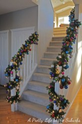 Charming Winter Staircase Design Ideas With Banister Ornaments To Try Asap 36