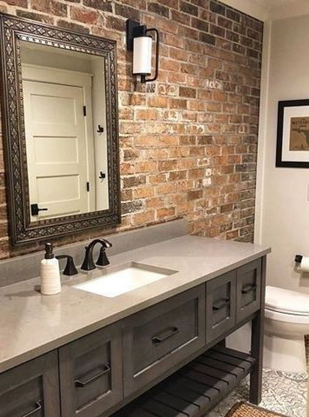 Fabulous Bathroom With Wall Brick Decoration Ideas To Try Asap 47