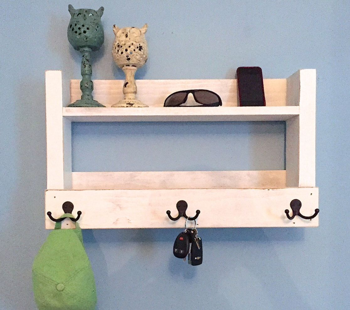 White Kitchen Shelf With Cup Hooks
