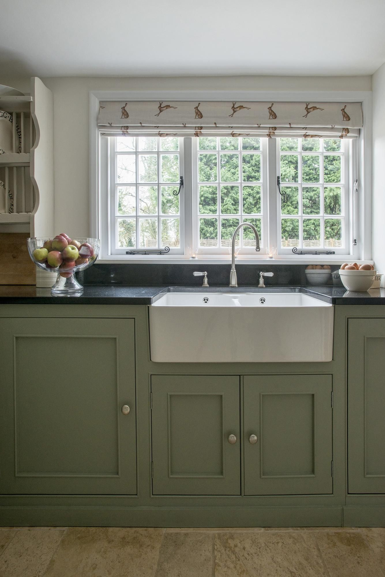 Green Kitchen Cabinets With White Appliances