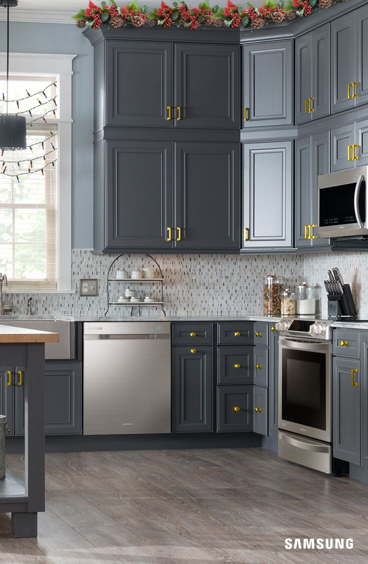 Kitchens With Grey Cabinets And Black Appliances