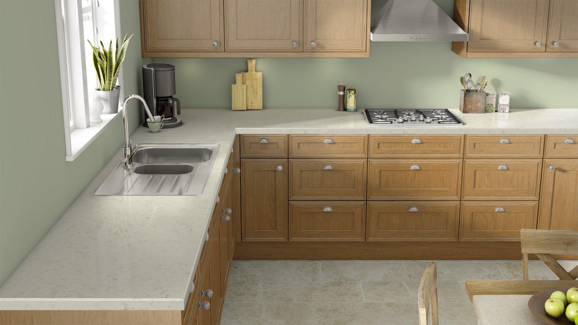 Oak Kitchen Cabinets With White Quartz Countertops
