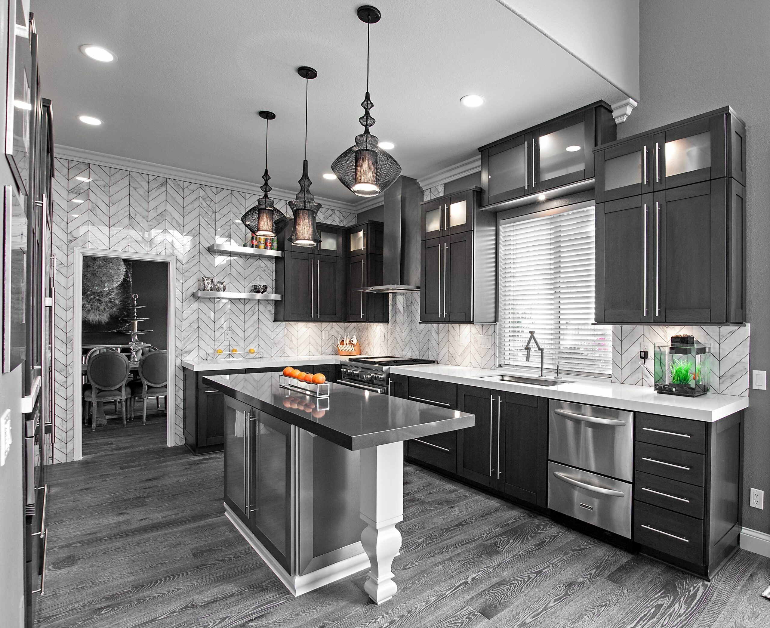 Small Kitchens With White Cabinets And Dark Floors