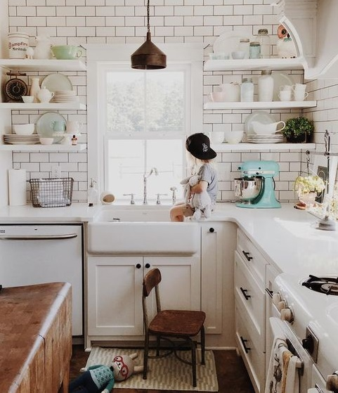 Images Of Small White Kitchens With Open Shelving