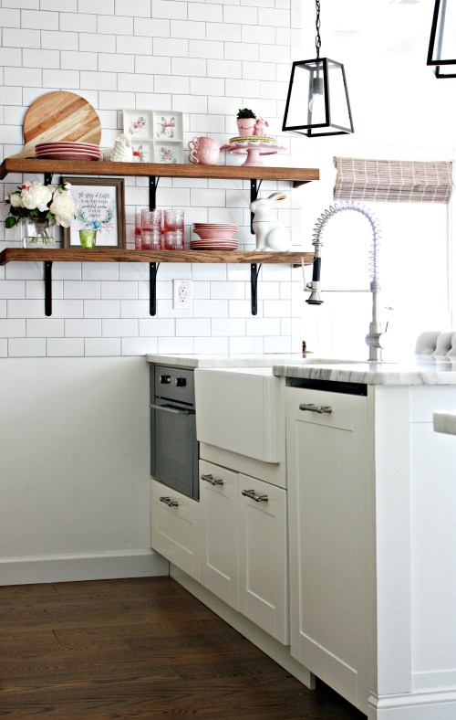 Small modern farmhouse kitchen with a pop of pink