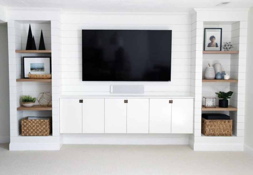 DIY shiplap media room built ins from IKEA