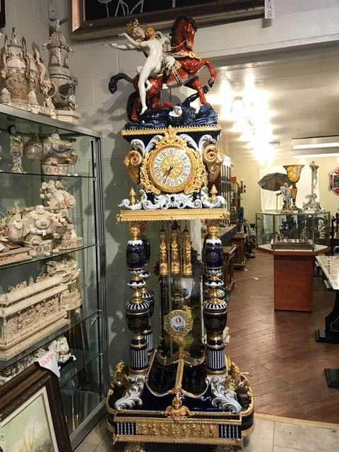 decorating with large mirrors living room coastal rooms images antique clocks : spectacular porcelain clock ...