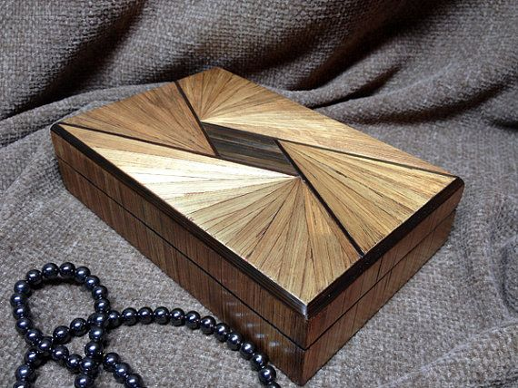 Decorative Boxes Straw marquetry box Art Deco design