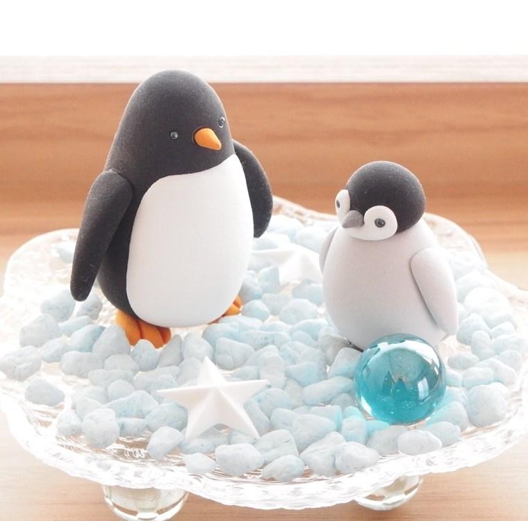 子供粘土教室。親子ペンギン
