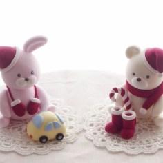 クリスマス子供粘土教室2015ウサギとクマのサンタクロース / クレイクラフト