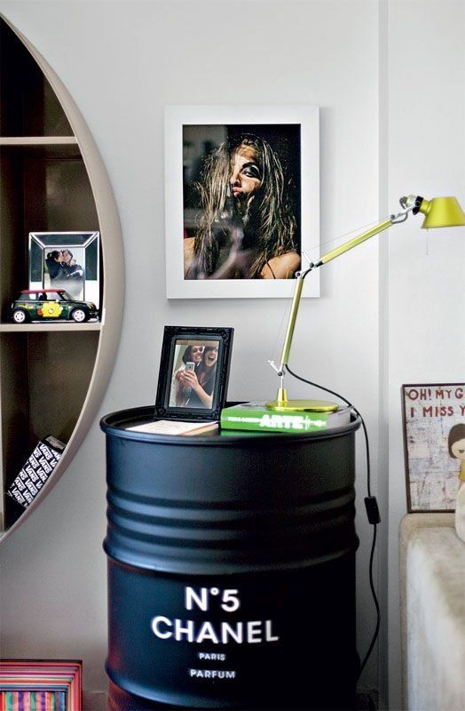 10 Unusual Things to Use as a Nightstand (love the barrel, but not the Chanel)