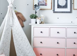 Girls room tour, ikea hack, diy, ombre dresser, polka dot walls, lace teepee, toddler room, gold, peach.