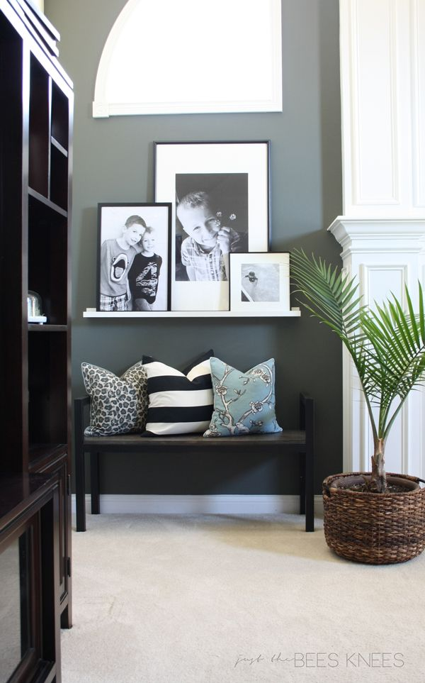 just the bee's knees: Holly & Martin furniture review and a Giveaway!  Love the wall color and photo ledge: