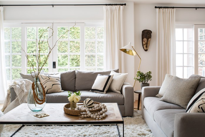 Living room designed with coffee table and couch