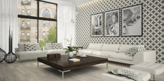 Black an white living room with wall decoration, dark coffee table and white couch