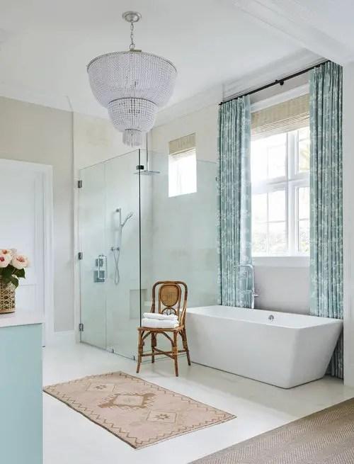 White and blue designed bathroom