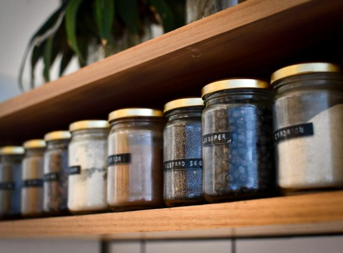 Pantry shelf with labeled jars