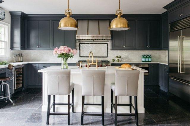 Kitchen with grey kitchen cabinet