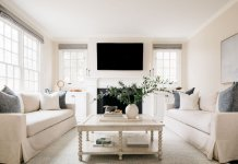 White designed living room with firework