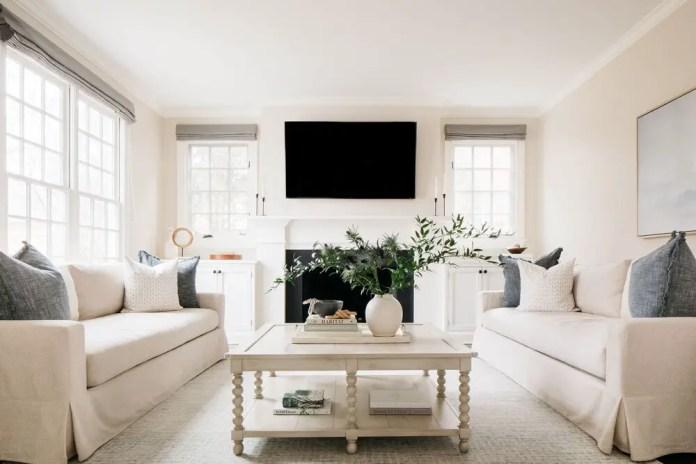 White designed living room with firework