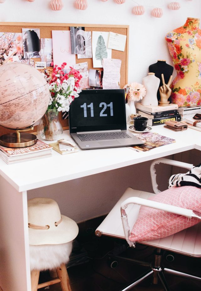 Home office desk with pin board