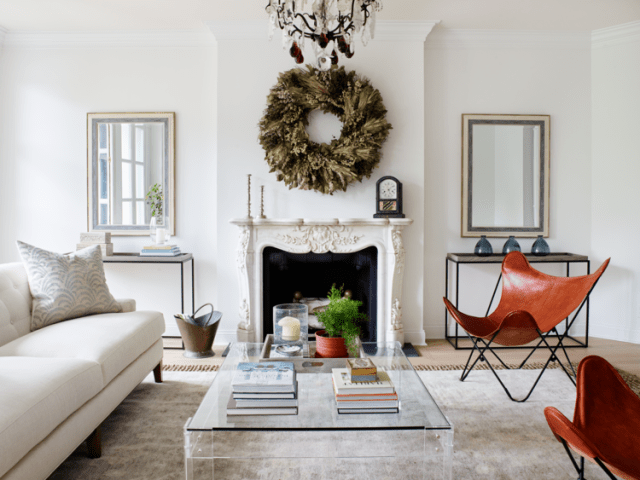 Bright designed living room with firework