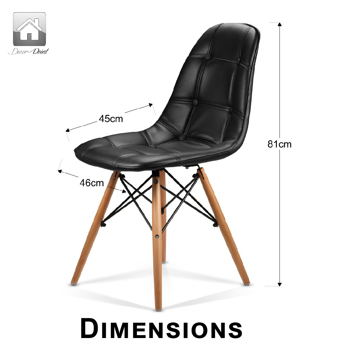 eames leather chair dining oval side 6 x replica ellen pu black